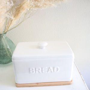 Ceramic farmhouse styled bamboo breadbox